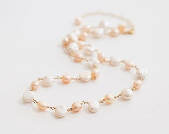 Freshwater Pearls Necklace / Keshi Pearl Necklace / Pink Pearl Necklace / Freshwater Pearl Gold Necklace / Romantic Weddings, Pink and White