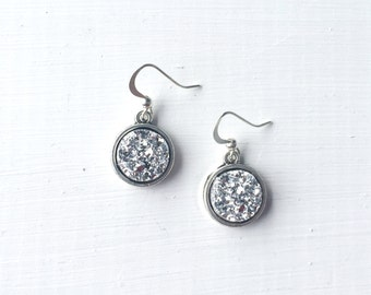 Silver Faux Druzy Dangle Earrings