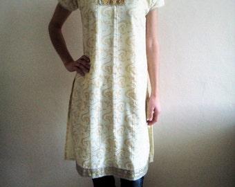 INDIAN vintage dress,yellow gold, woman dress, vestito donna, indiano, vestito tipico, folk, traditional dress, vestito tipico, size S