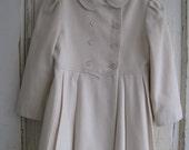 vintage girls size 6  f.w. fischer designs for ellerie fashions white wool blend coat