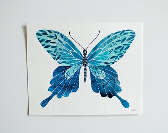 Blue Butterfly - original watercolor illustration