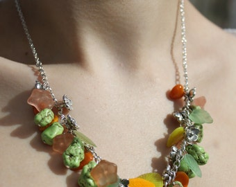 Orange and Chartreuse Woodland Cluster Gemstone Necklace