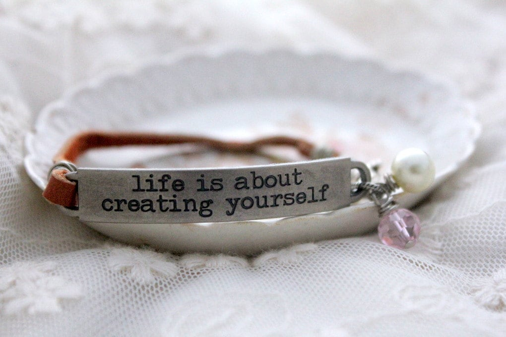 leather bracelet stamped jewelry inspirational quote by