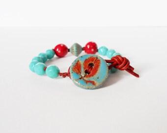 red & blue bead bracelet, hand-knotted bracelet, ceramic leaf button bracelet, knotted leather bracelet, OOAK bead bracelet, gift for her