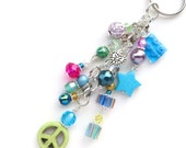 RADIANT PEACE- Beaded Key-Chain- Turquoise Peace Sign, Millefiore, Pearl Beads, Swarovski Crystals, and Silver Beads