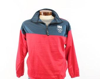London Olympics Pullover Jacket Sweatshirt Zipper Men's Fall Winter Outerwear Red Navy Blue XL USA