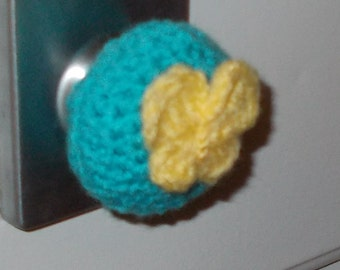Yellow Butterfly on Blue Door Knob Cozy