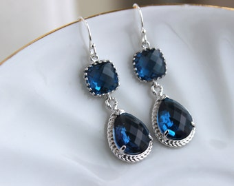 Silver Sapphire Earrings Navy Blue Jewelry Teardrop Glass Two Tier - Sapphire Bridesmaid Earrings Navy Blue Wedding Jewelry - Something Blue