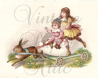EASTER Victorian Children in Eggshell Rabbit Cart Antique French Chromo Trade Card from Vintage Paper Attic