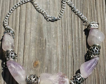 Beautiful Lilac amethyst chain necklace