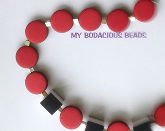 "Handmade 28"" Red DISC FUNKY NECKLACE 3 Black White Cube Accents Square Small Silver Accents"