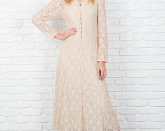 Vintage 80s 90s Cream Lace Maxi Dress Grunge Floral Small S 3824