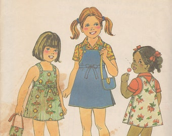 1976 Girls Overall Style Sundress or Jumper, Shirt and Purse Vintage Pattern, Simplicity 7555, Crossover Button Straps, Mini Ties Cute Sassy