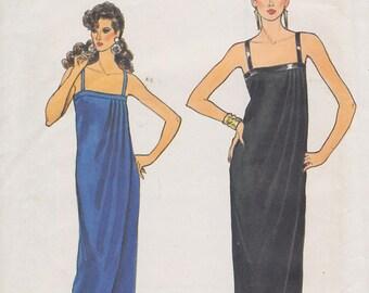 1980s Glamorous, Slinky Evening Gown Vintage Pattern, Vogue 8520, Sleek, Petal Hem, Pleats into Neckline Band, Thin Straps, Body Skimming