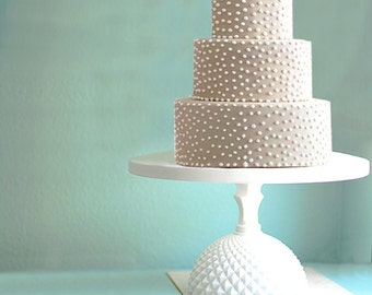 Wedding Cake Stand With Milk Glass Base Vintage Weddings White