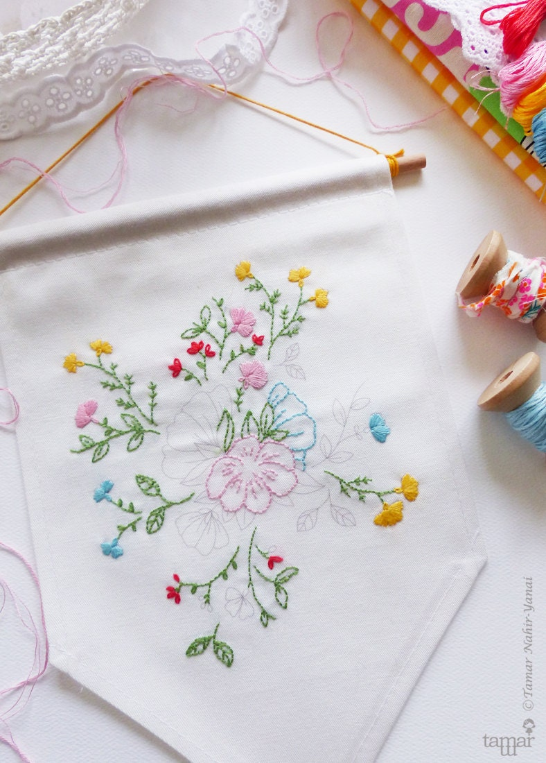 Embroidery flower banner flag gift ideas for mom bouquet