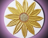 "Gold Sun Flower Painting Abstract Acrylic Sculptural Impasto, Sunflower Chartreuse White 20"" Round High Quality Original Modern Art"
