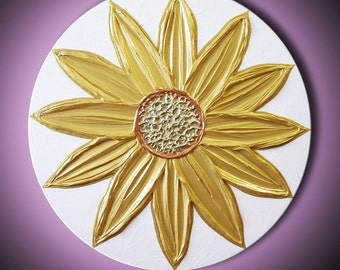 "Painting Gold Sun Flower Abstract Acrylic Sculpture Sunflower Chartreuse White 20"" Round High Quality Original Modern Art"