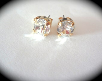 Bridal jewelry - Gold - Crystal earrings - Studs - Swarovski crystals - Brides earrings - Bridesmaids - Chunky - Gift