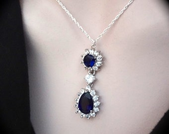 Blue Sapphire necklace - Cubic Zirconia' s - Halo style - Brides necklace ~ Something Blue - Sterling silver - September Birthstone ~ KATE