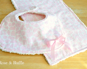 Baby Girl Newborn Bib and Burp Cloth Set, Baby Shower Gift, Gift for New Mom, Nursing Essentials, READY to SHIP, Rose and Ruffle