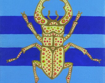 "Original Acrylic Painting of PALE STAG BEETLE - 8""x8"" Large Bold Bright Acrylic with Gold Detailing on Stretched Canvas"