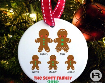 Gingerbread Family of 5 Ornament - Personalized Family Christmas Ornament