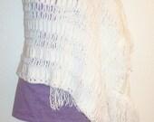 White Crochet Wrap with Fringe - Prayer Shawl - Bridal Shawl