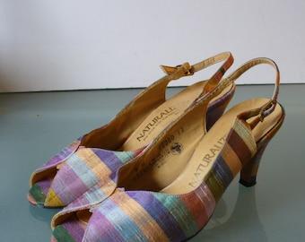 Naturalizer Rainbow Silk  Slingback Heels Size 7M US