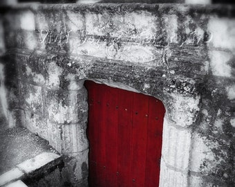 Red Door Photograph, Black And White With Color, Architecture Art, Castle Photo, Modern Home Decor, Wall Art, Fine Art Photography Print