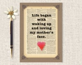 Mother's Day Card, Love Began, Handmade, Quote, Dictionary Page, 5 x 7