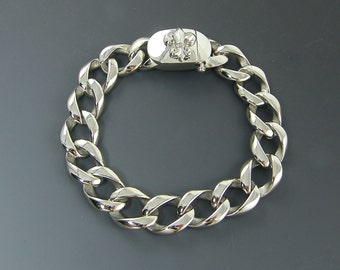 Mens Stainless Steel Bracelet, 16mm 5/8 Inch Wide Very Heavy Thick Curb Link Chain Bracelet for Him Fleur de Lis Clasp |BC1-21