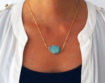 Blue Druzy Necklace Gold Layered Necklace Turquoise Gemstone Layering Necklace Rustic Modern Statement Natural Geode Stone C1