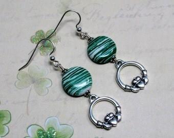 Claddagh Earrings, Green Earrings, St. Patrick's Day Earrings, Holiday Earrings, Celtic Earrings, Irish Earrings, St. Patrick's Day Jewelry
