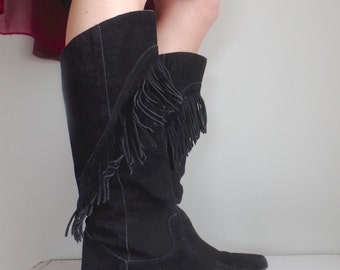 Vtg 80s Fringe Boots // Black Suede // Knee High // Boho Western Hippie Boot // Womens Size 7