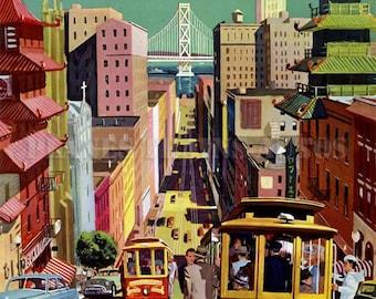 Vintage TWA Airline Poster advert 1952. San Francisco via TWA. Instant Download - Printable Poster