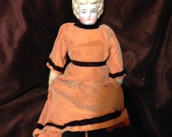 China Head Doll Antique Blonde Low Brow Fully Dressed