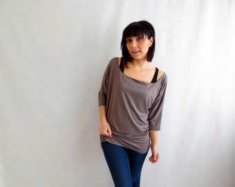 Taupe long tunic top, short sleeved top, asymmetric top, one shoulder top, jersey top, alicecloset, cotton tshirt, yoga clothes, blouse