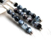 4mm beads - Grey Black Blue Mixed - czech glass beads, faceted beads, fire polished spacers, round beads - 50Pc - 1667