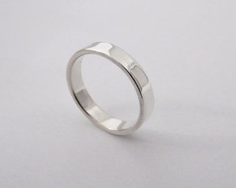 Simple Silver Band - 3mm Wide Hand Made in Argentium Silver - Polished or Brushed Finish