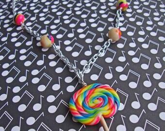 Neon Rainbow Lollipop Mashup Necklace