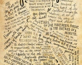 Edgar Allan Poe Quotes - 8x10 handdrawn and handlettered printed on antiqued paper