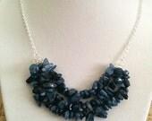 The Samantha Deep Indigo Dark Blue Natural Stone Chip Boho Bib Necklace
