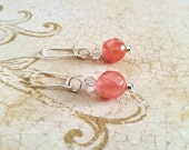 The Nora- Pink Coral Quartz Crystal with White Swarovski Crystal Sterling Silver Earrings