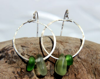 Hawaiian Aqua Blue & Emerald Green Beach Glass on Hammered 925 Sterling Silver Circular Wire Small Hoop Earrings