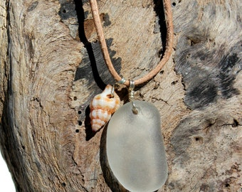 Hawaiian Clear Beach Glass & Tidal Snail Shell Wire Wrapped in 925 Sterling Silver on India Leather Necklace