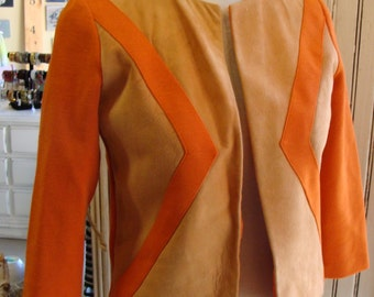 ORANGE KNIT SUIT pencil skirt and jacket with suede front 1960's S
