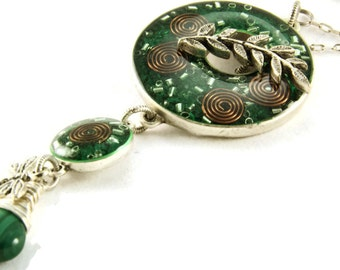 Orgone Energy Toggle Charm Necklace - Green with Malachite - Antique Silver - Long Necklace - Artisan Jewelry