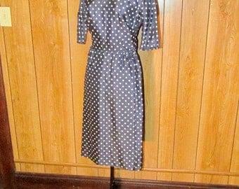 On Sale-Gorgeous POLKA DOT Navy WIGGLE Dress