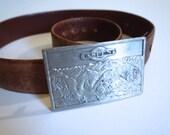 Vintage Aspen Belt Buckle and Leather Belt Bergamot Brass Works - Aspen Colorado - Floyd Jones Vintage